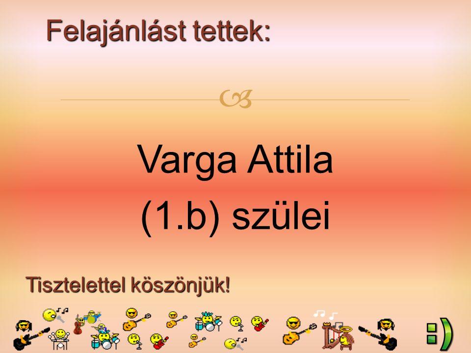 Felajánlást tettek: Tisztelettel köszönjük!  Varga Attila (1.b) szülei