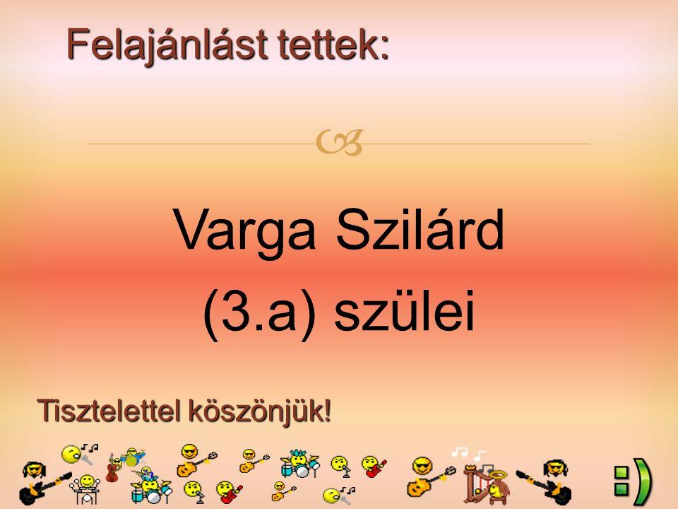 Felajánlást tettek: Tisztelettel köszönjük!  Varga Szilárd (3.a) szülei