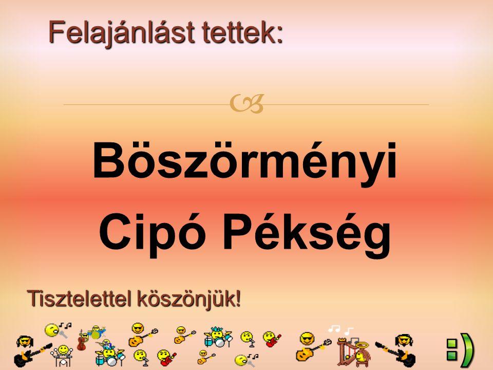 Felajánlást tettek: Tisztelettel köszönjük!  Cserkuti Bence (2.a) szülei