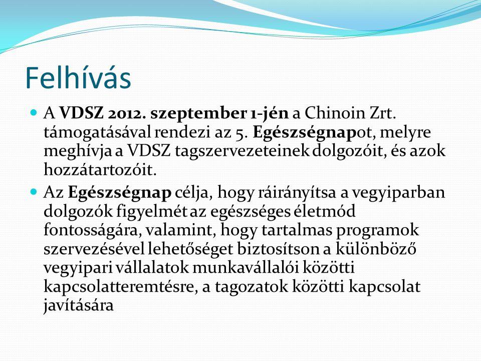 Felhívás  A VDSZ 2012. szeptember 1-jén a Chinoin Zrt.