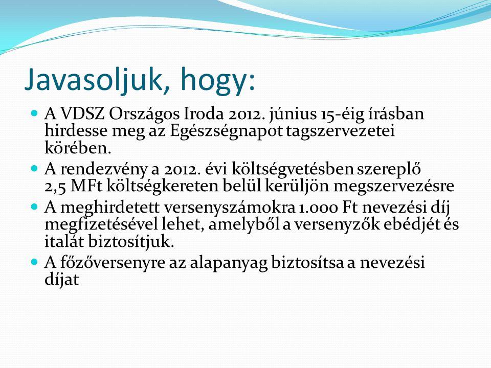 Javasoljuk, hogy:  A VDSZ Országos Iroda 2012.