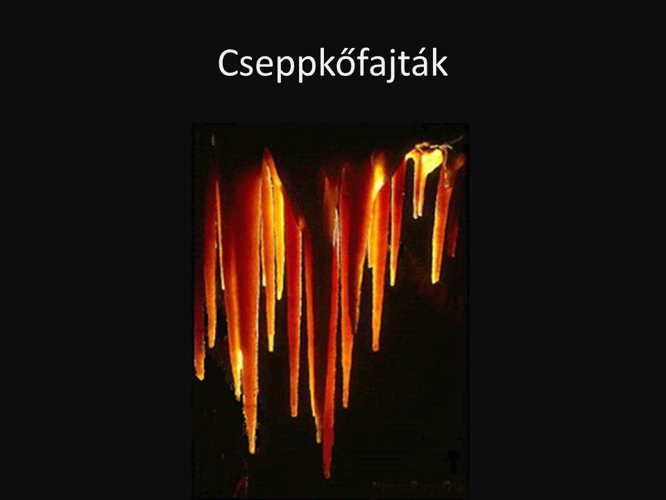Függőcseppkő (sztalaktit) • A barlangi kiválások leggyakoribb és legismertebb típusa.