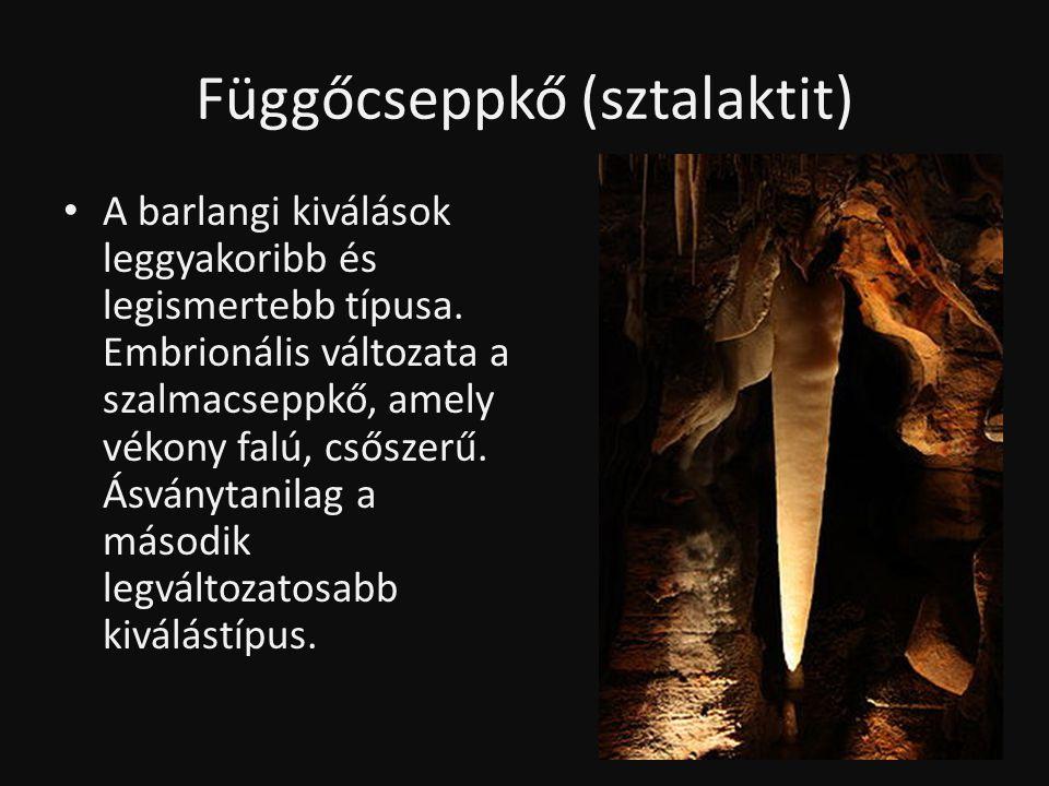 Függőcseppkő (sztalaktit) • A barlangi kiválások leggyakoribb és legismertebb típusa. Embrionális változata a szalmacseppkő, amely vékony falú, csősze