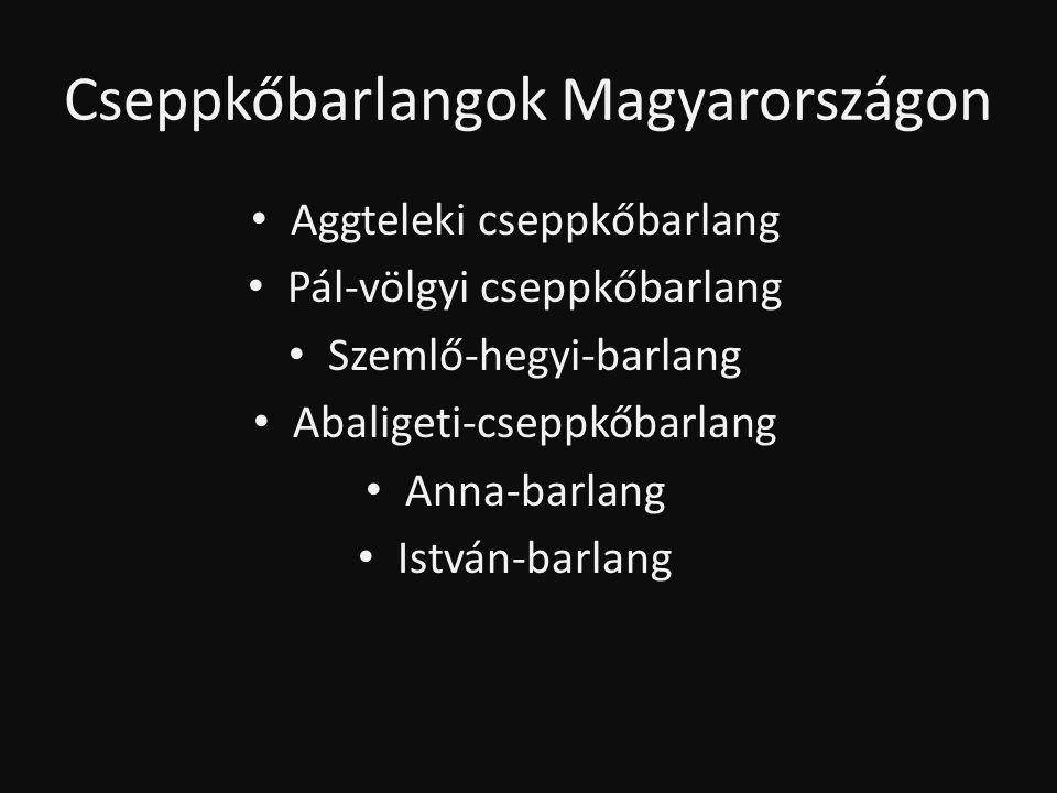 Cseppkőbarlangok Magyarországon • Aggteleki cseppkőbarlang • Pál-völgyi cseppkőbarlang • Szemlő-hegyi-barlang • Abaligeti-cseppkőbarlang • Anna-barlan