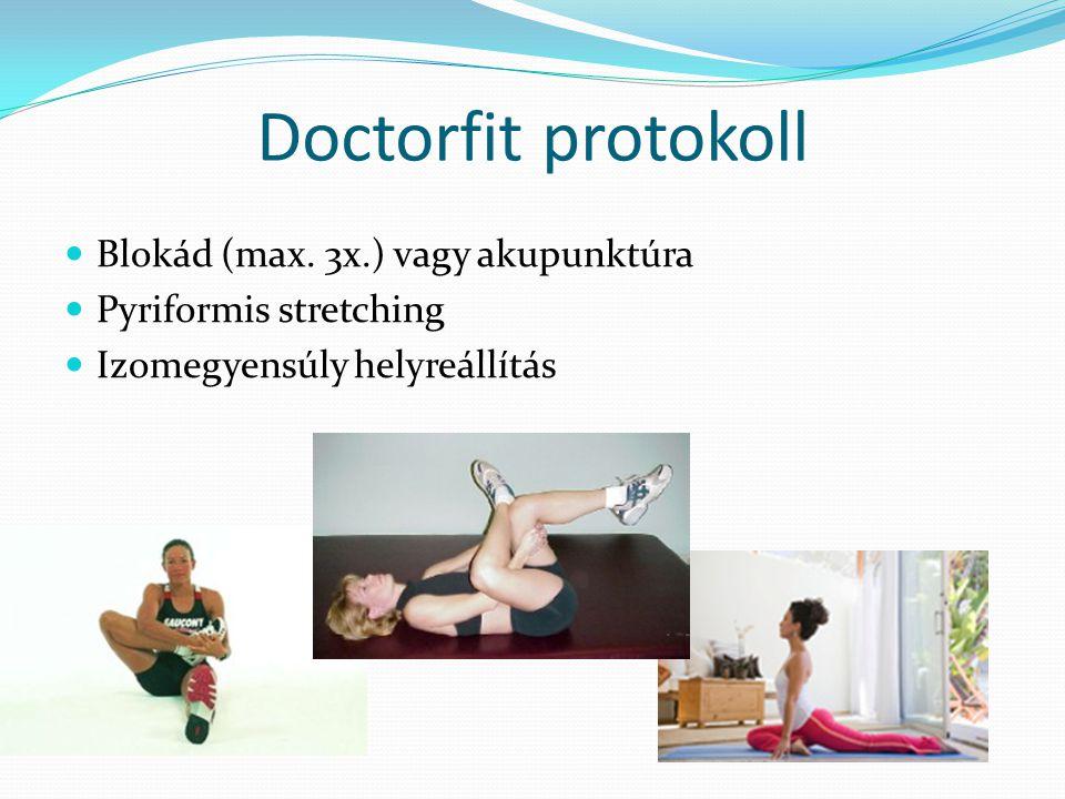 Doctorfit protokoll  Blokád (max. 3x.) vagy akupunktúra  Pyriformis stretching  Izomegyensúly helyreállítás