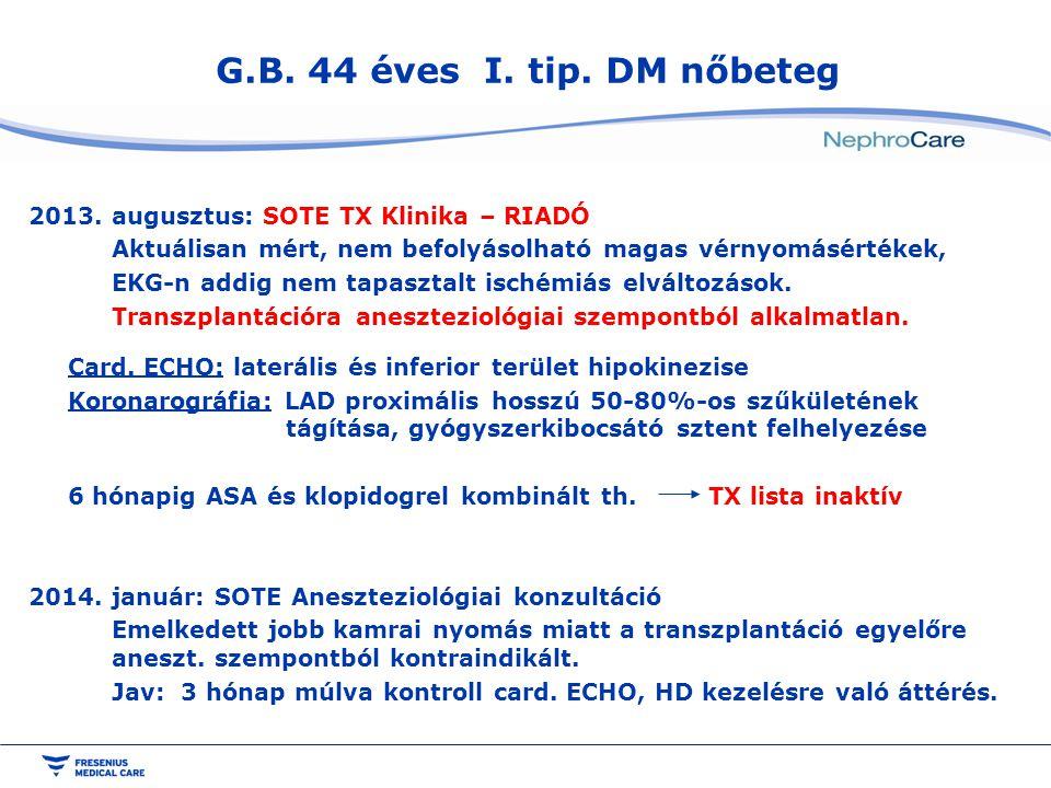G.B. 44 éves I. tip. DM nőbeteg 2013. augusztus: SOTE TX Klinika – RIADÓ Aktuálisan mért, nem befolyásolható magas vérnyomásértékek, EKG-n addig nem t