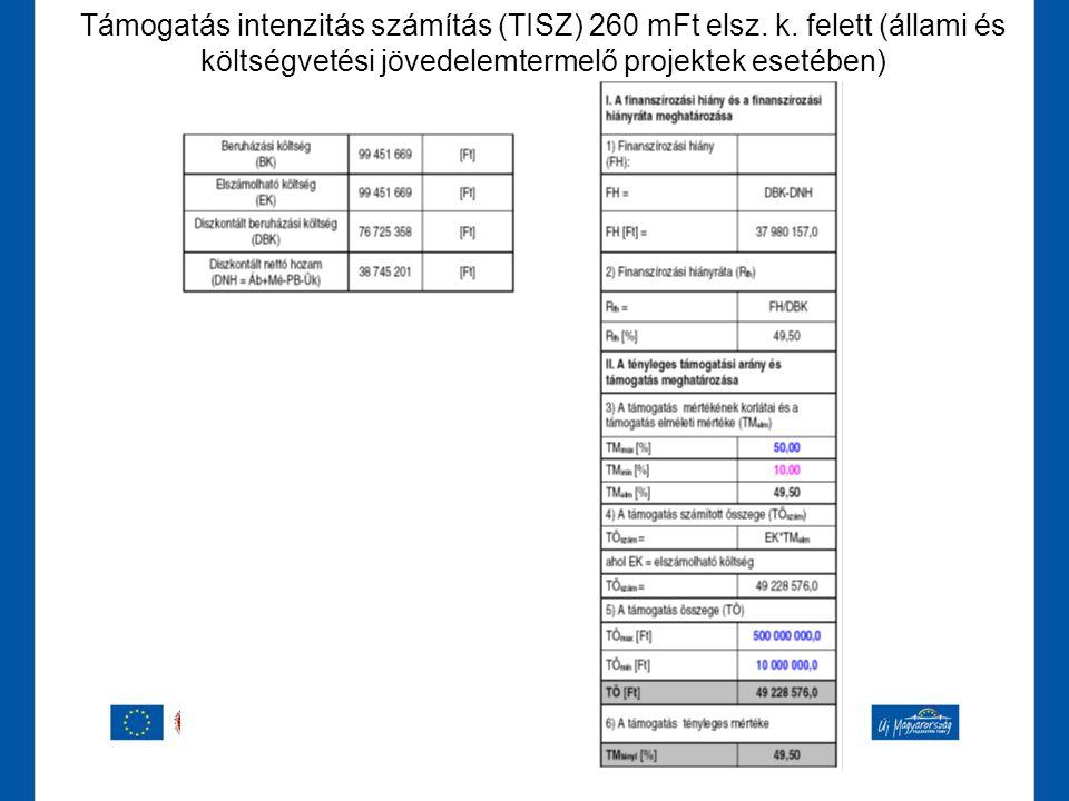 Támogatás intenzitás számítás (TISZ) 260 mFt elsz. k. felett (állami és költségvetési jövedelemtermelő projektek esetében)
