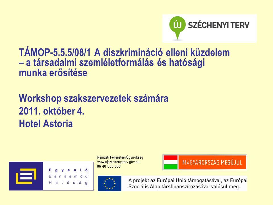 TÁMOP-5.5.5/08/1 A diszkrimináció elleni küzdelem – a társadalmi szemléletformálás és hatósági munka erősítése Workshop szakszervezetek számára 2011.