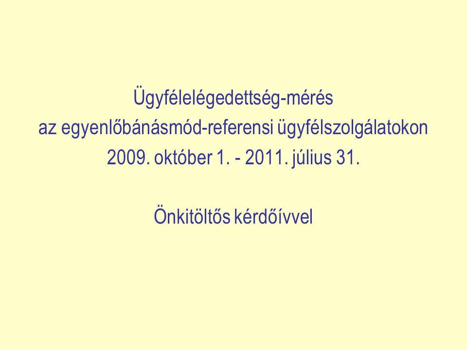 Ügyfélelégedettség-mérés az egyenlőbánásmód-referensi ügyfélszolgálatokon 2009. október 1. - 2011. július 31. Önkitöltős kérdőívvel