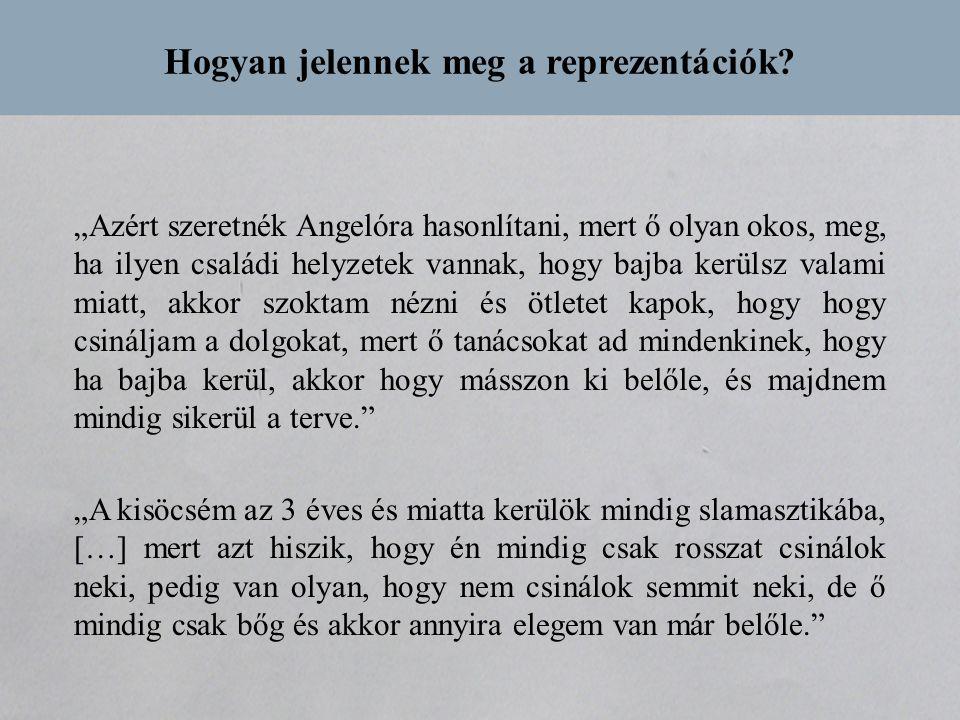 """Hogyan jelennek meg a reprezentációk? """"Azért szeretnék Angelóra hasonlítani, mert ő olyan okos, meg, ha ilyen családi helyzetek vannak, hogy bajba ker"""