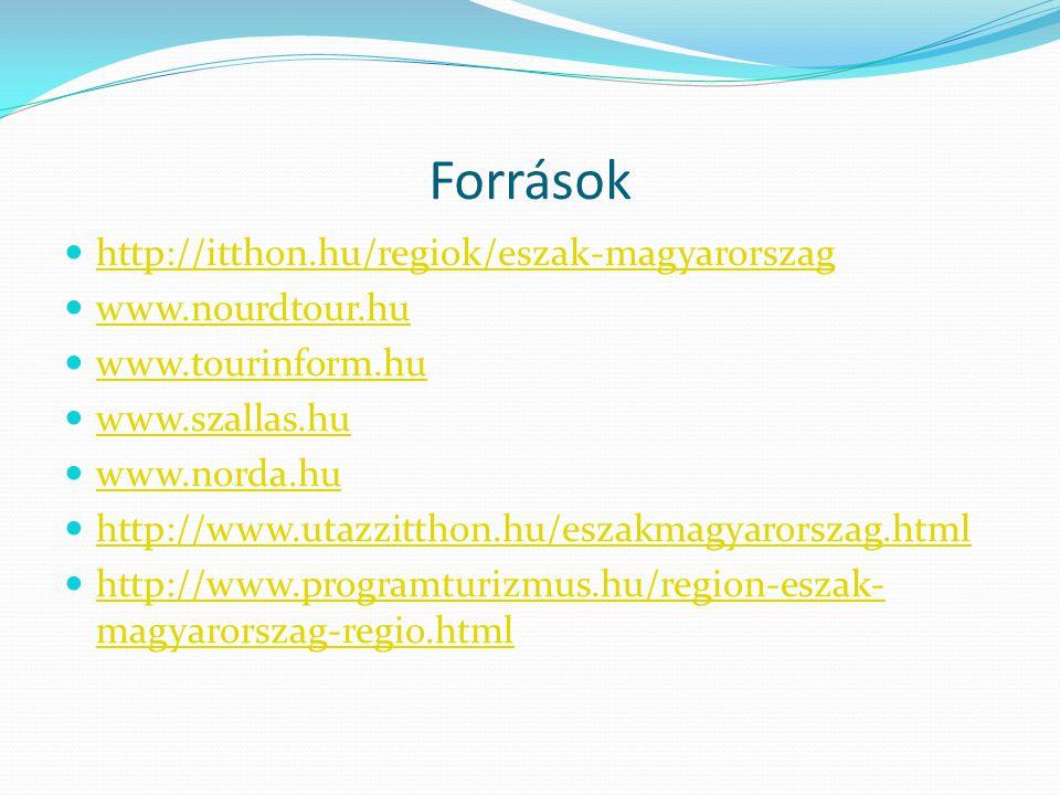 Források  http://itthon.hu/regiok/eszak-magyarorszag http://itthon.hu/regiok/eszak-magyarorszag  www.nourdtour.hu www.nourdtour.hu  www.tourinform.