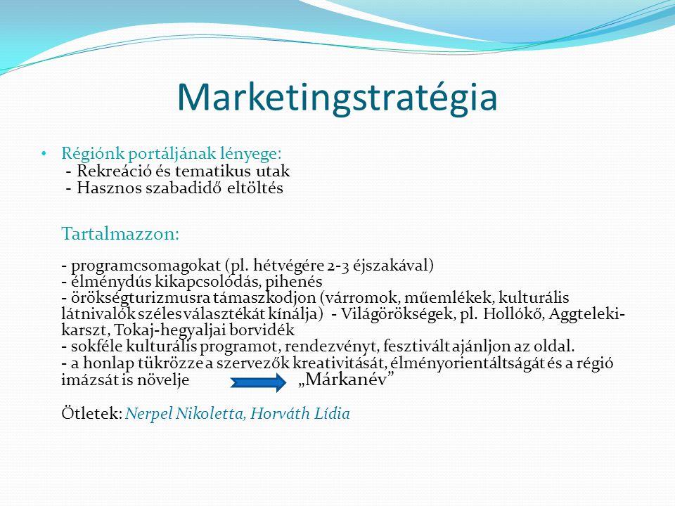 Marketingstratégia • Régiónk portáljának lényege: - Rekreáció és tematikus utak - Hasznos szabadidő eltöltés Tartalmazzon: - programcsomagokat (pl. hé