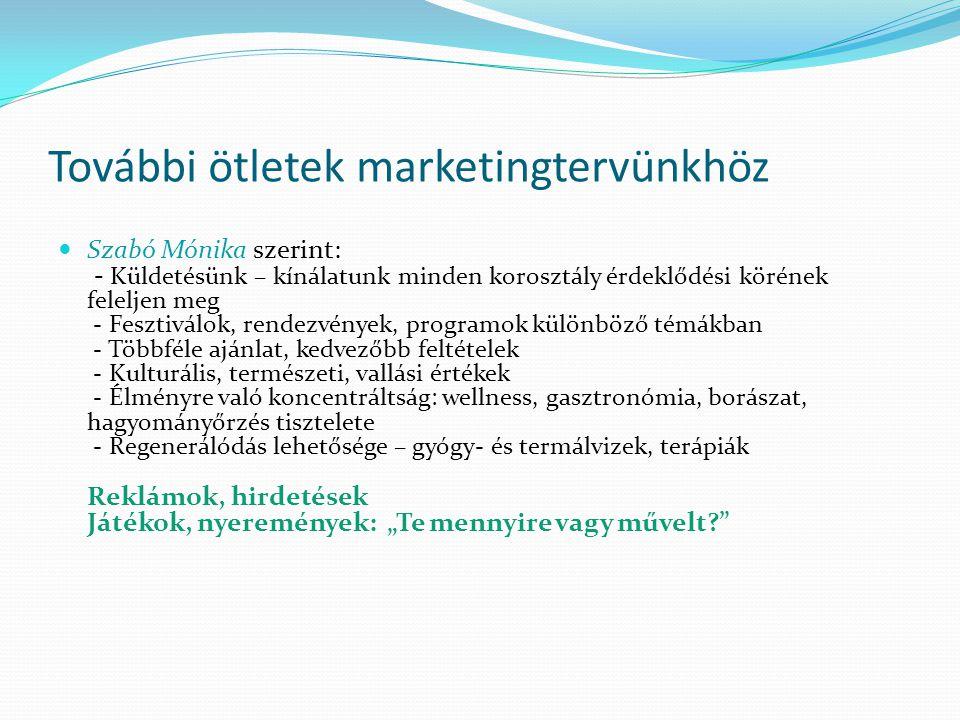 További ötletek marketingtervünkhöz  Szabó Mónika szerint: - Küldetésünk – kínálatunk minden korosztály érdeklődési körének feleljen meg - Fesztiválo
