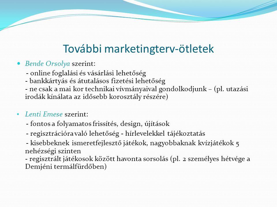További marketingterv-ötletek  Bende Orsolya szerint: - online foglalási és vásárlási lehetőség - bankkártyás és átutalásos fizetési lehetőség - ne c