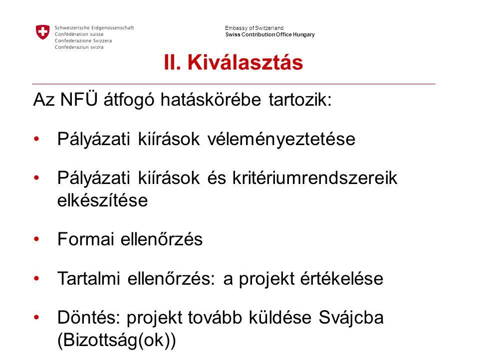 Embassy of Switzerland Swiss Contribution Office Hungary Az NFÜ átfogó hatáskörébe tartozik: •Pályázati kiírások véleményeztetése •Pályázati kiírások és kritériumrendszereik elkészítése •Formai ellenőrzés •Tartalmi ellenőrzés: a projekt értékelése •Döntés: projekt tovább küldése Svájcba (Bizottság(ok)) II.