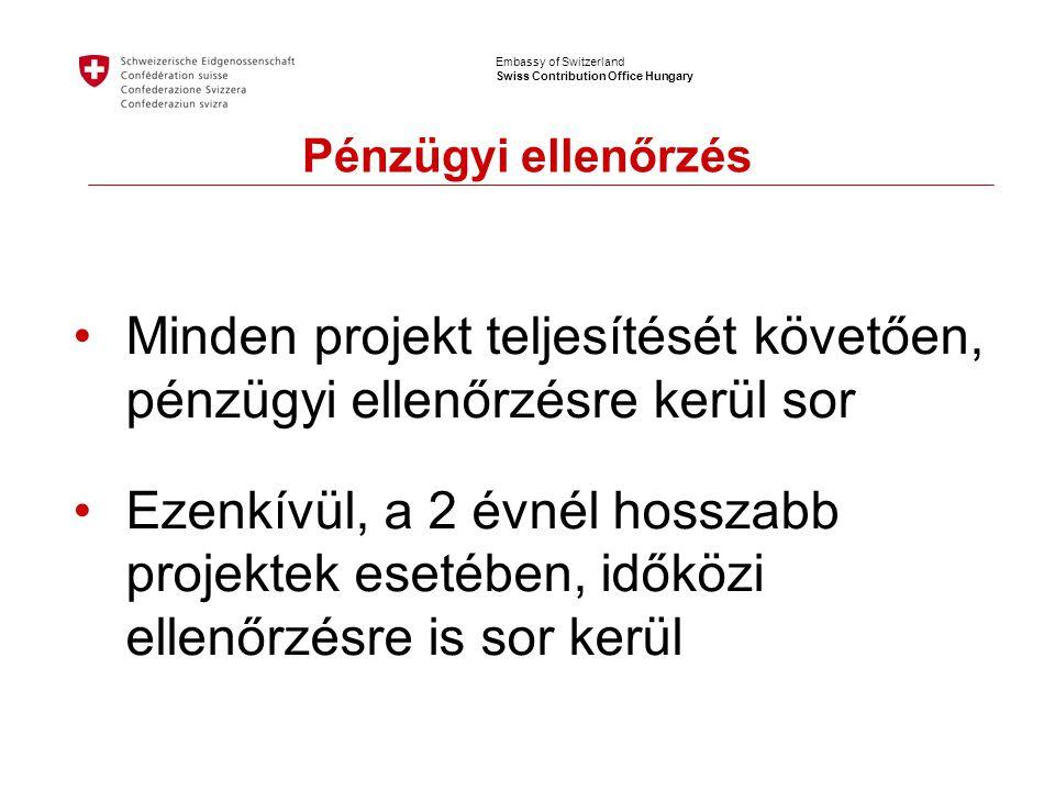 Embassy of Switzerland Swiss Contribution Office Hungary Pénzügyi ellenőrzés •Minden projekt teljesítését követően, pénzügyi ellenőrzésre kerül sor •Ezenkívül, a 2 évnél hosszabb projektek esetében, időközi ellenőrzésre is sor kerül