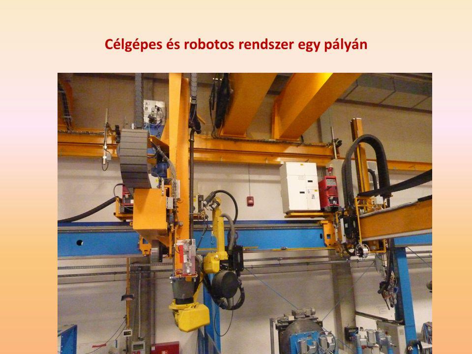 Célgépes és robotos rendszer egy pályán