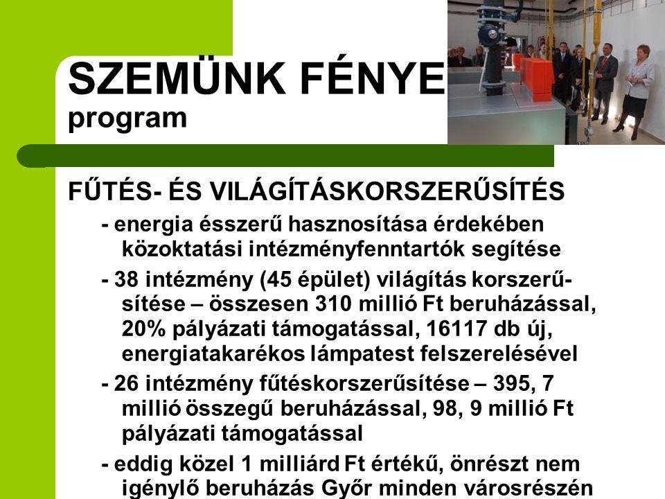 SZEMÜNK FÉNYE program FŰTÉS- ÉS VILÁGÍTÁSKORSZERŰSÍTÉS - energia ésszerű hasznosítása érdekében közoktatási intézményfenntartók segítése - 38 intézmén