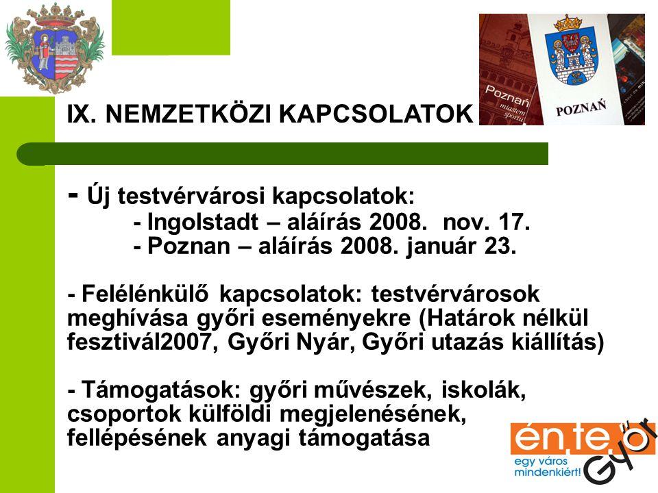 IX. NEMZETKÖZI KAPCSOLATOK - Új testvérvárosi kapcsolatok: - Ingolstadt – aláírás 2008. nov. 17. - Poznan – aláírás 2008. január 23. - Felélénkülő kap