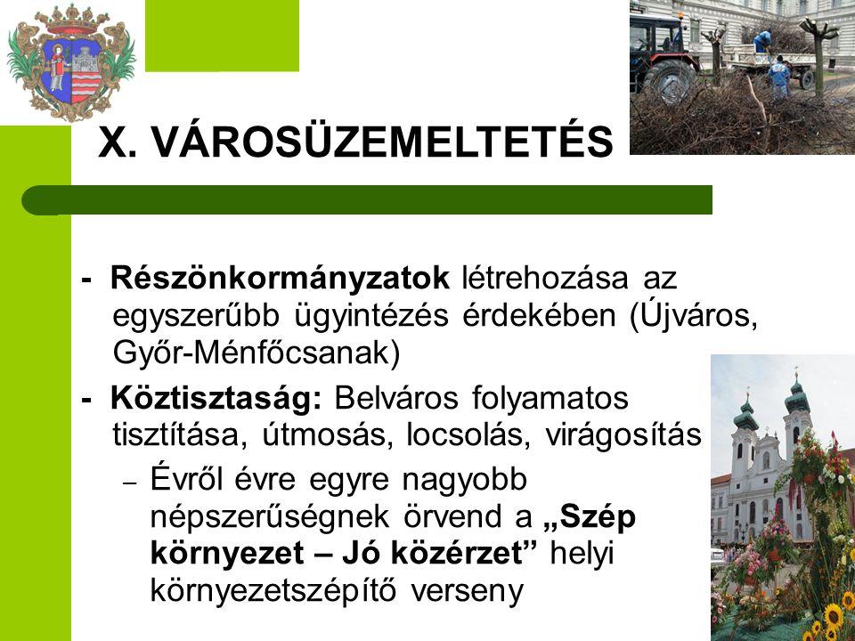 - Részönkormányzatok létrehozása az egyszerűbb ügyintézés érdekében (Újváros, Győr-Ménfőcsanak) - Köztisztaság: Belváros folyamatos tisztítása, útmosá