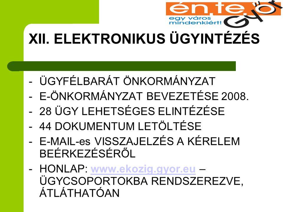 XII. ELEKTRONIKUS ÜGYINTÉZÉS -ÜGYFÉLBARÁT ÖNKORMÁNYZAT -E-ÖNKORMÁNYZAT BEVEZETÉSE 2008. -28 ÜGY LEHETSÉGES ELINTÉZÉSE -44 DOKUMENTUM LETÖLTÉSE -E-MAIL
