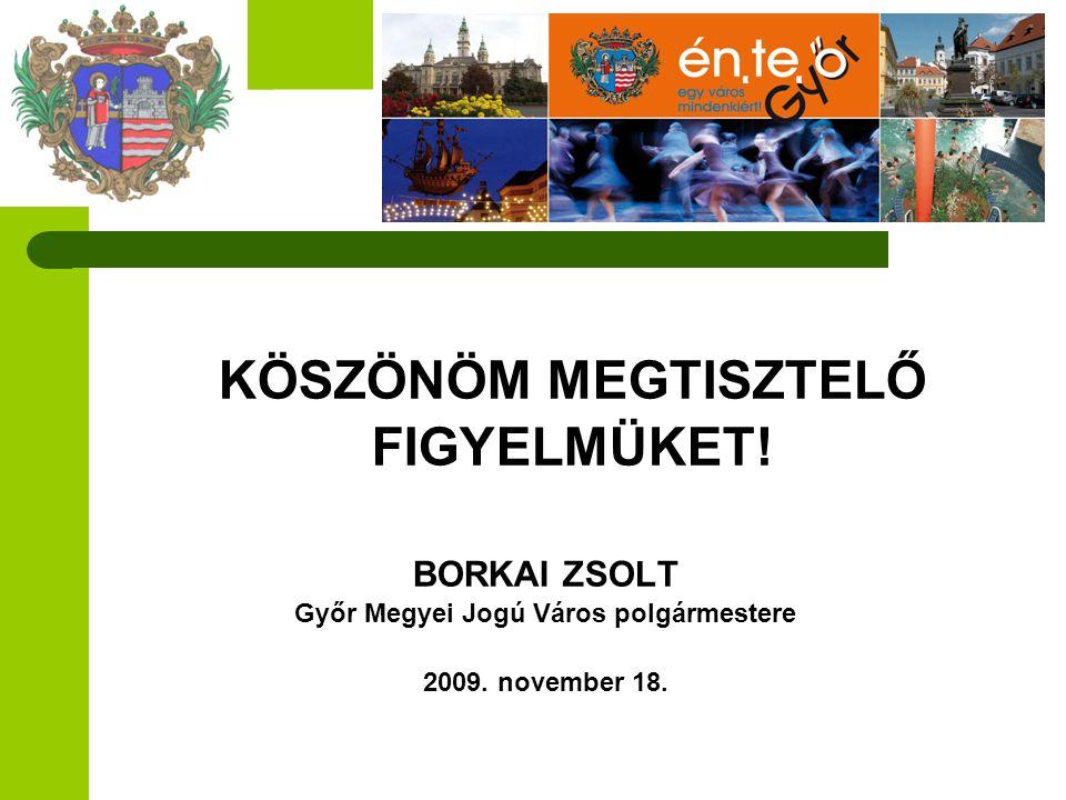 KÖSZÖNÖM MEGTISZTELŐ FIGYELMÜKET! BORKAI ZSOLT Győr Megyei Jogú Város polgármestere 2009. november 18.
