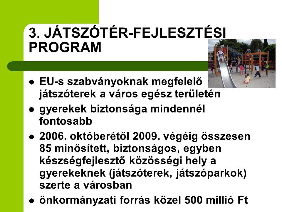 3. JÁTSZÓTÉR-FEJLESZTÉSI PROGRAM  EU-s szabványoknak megfelelő játszóterek a város egész területén  gyerekek biztonsága mindennél fontosabb  2006.