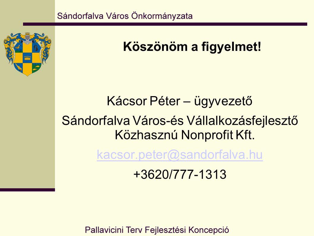 Köszönöm a figyelmet! Kácsor Péter – ügyvezető Sándorfalva Város-és Vállalkozásfejlesztő Közhasznú Nonprofit Kft. kacsor.peter@sandorfalva.hu +3620/77