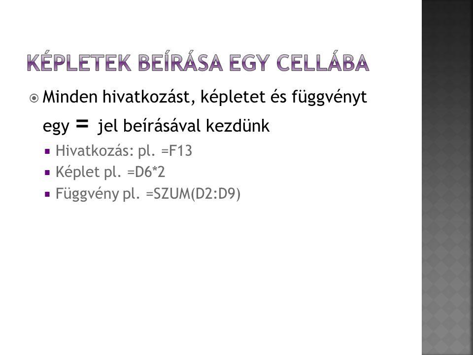  Minden hivatkozást, képletet és függvényt egy = jel beírásával kezdünk  Hivatkozás: pl. =F13  Képlet pl. =D6*2  Függvény pl. =SZUM(D2:D9)