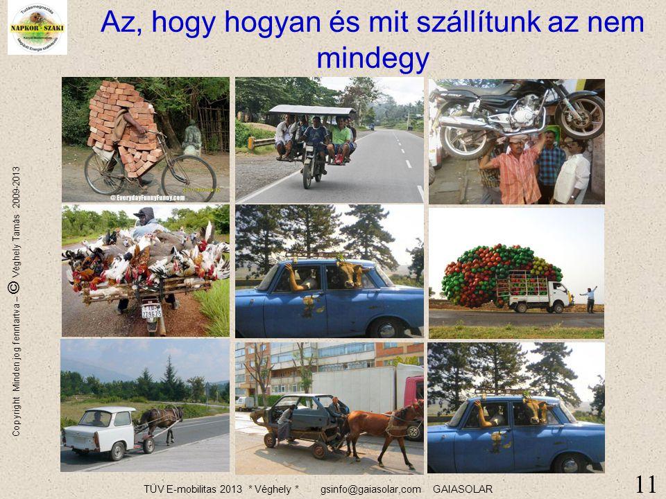 TÜV E-mobilitas 2013 * Véghely * gsinfo@gaiasolar,com GAIASOLAR Copyright Minden jog fenntartva – © Véghely Tamás 2009-2013 A világ népessége egyre nő, egyre többet fogunk szállítani