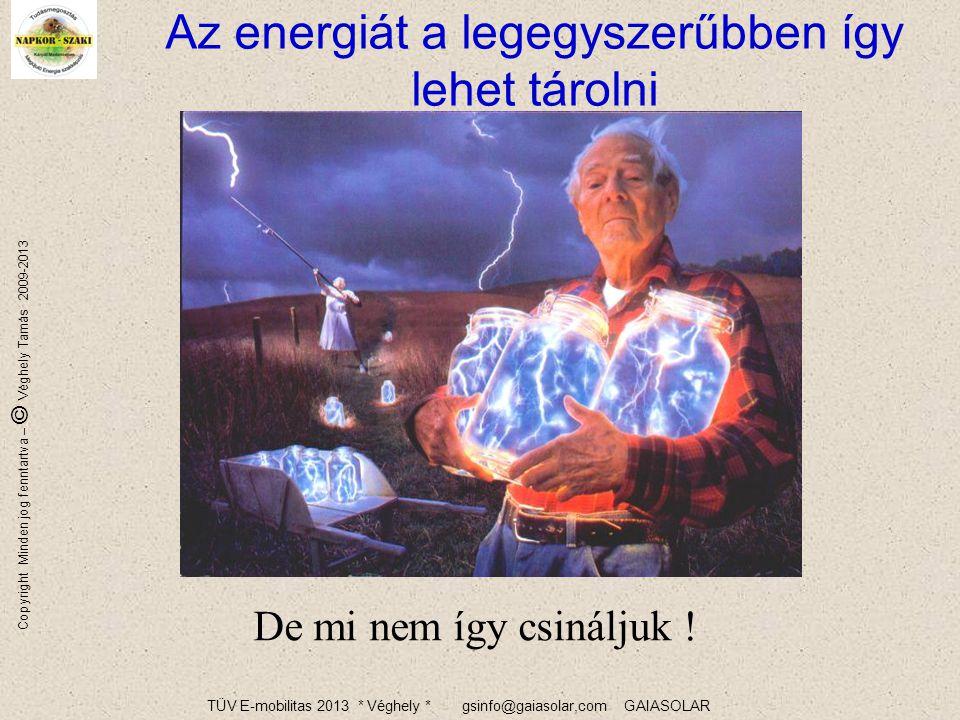 TÜV E-mobilitas 2013 * Véghely * gsinfo@gaiasolar,com GAIASOLAR Copyright Minden jog fenntartva – © Véghely Tamás 2009-2013 18 A német primerenergia-felhasználás +1,3% +4,2% +15,3% +0,2% +4,2% +9,8% +4,6% Ez az év 1,2°C-szal hidegebb volt.
