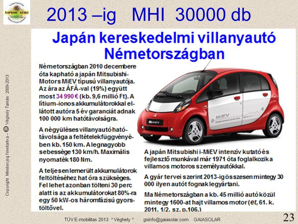 TÜV E-mobilitas 2013 * Véghely * gsinfo@gaiasolar,com GAIASOLAR Copyright Minden jog fenntartva – © Véghely Tamás 2009-2013 Német modell 2020 … 25% 22