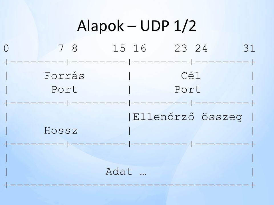 Alapok – UDP 1/2 0 7 8 15 16 23 24 31 +--------+--------+--------+--------+ | Forrás | Cél| | Port | Port| +--------+--------+--------+--------+ | |Ellenőrző összeg | | Hossz | | +--------+--------+--------+--------+ | | Adat … | +-----------------------------------+