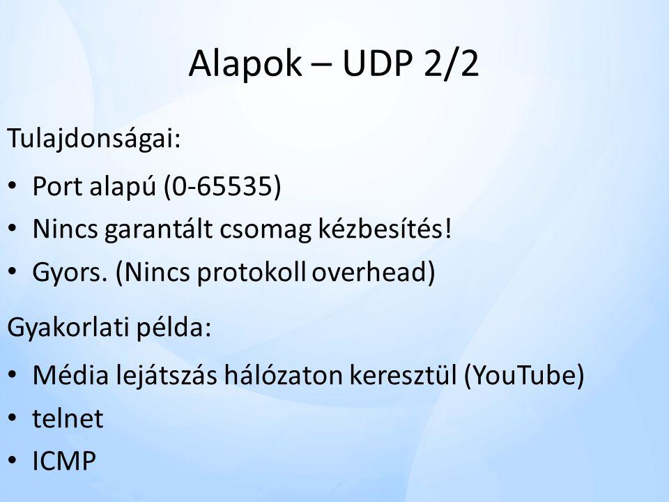 Alapok – UDP 2/2 Tulajdonságai: • Port alapú (0-65535) • Nincs garantált csomag kézbesítés.