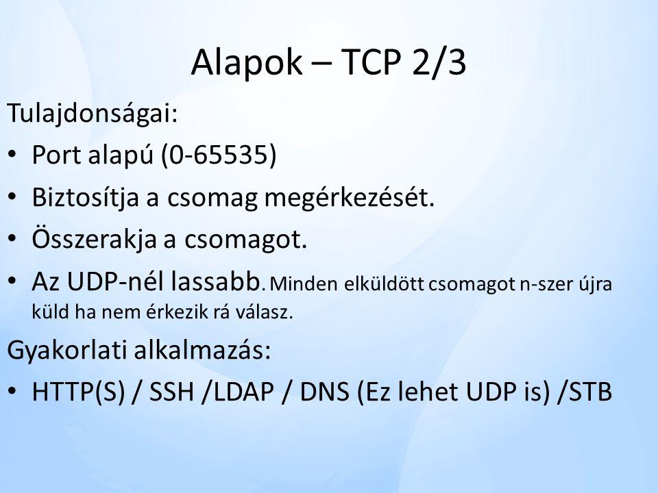 Alapok – TCP 2/3 Tulajdonságai: • Port alapú (0-65535) • Biztosítja a csomag megérkezését.