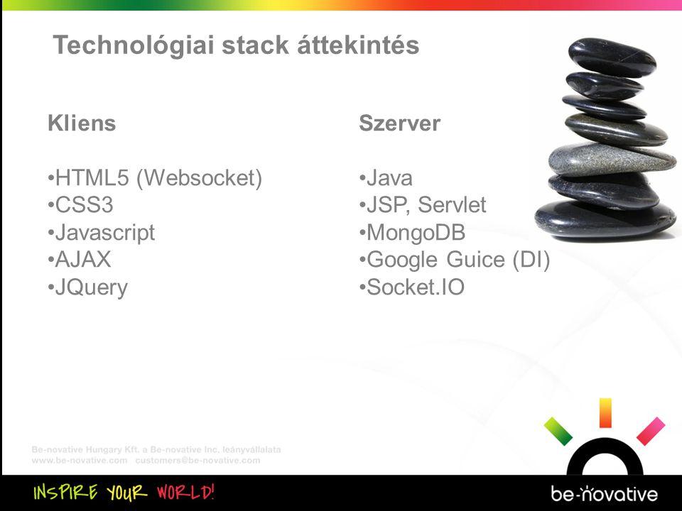 Közös kiértékelés Technológiai stack áttekintés Kliens •HTML5 (Websocket) •CSS3 •Javascript •AJAX •JQuery Szerver •Java •JSP, Servlet •MongoDB •Google Guice (DI) •Socket.IO