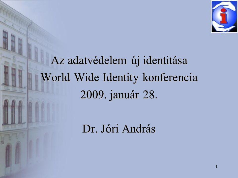 1 Az adatvédelem új identitása World Wide Identity konferencia 2009. január 28. Dr. Jóri András