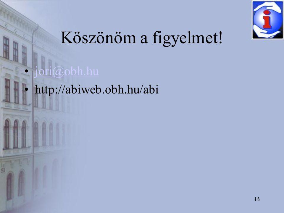 18 Köszönöm a figyelmet! •jori@obh.hujori@obh.hu •http://abiweb.obh.hu/abi