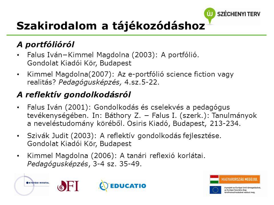 Szakirodalom a tájékozódáshoz A portfólióról • Falus Iván−Kimmel Magdolna (2003): A portfólió. Gondolat Kiadói Kör, Budapest • Kimmel Magdolna(2007):