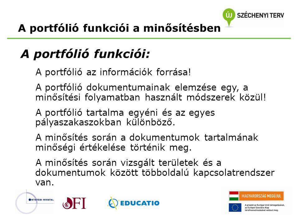 A portfólió funkciói a minősítésben A portfólió funkciói: A portfólió az információk forrása! A portfólió dokumentumainak elemzése egy, a minősítési f