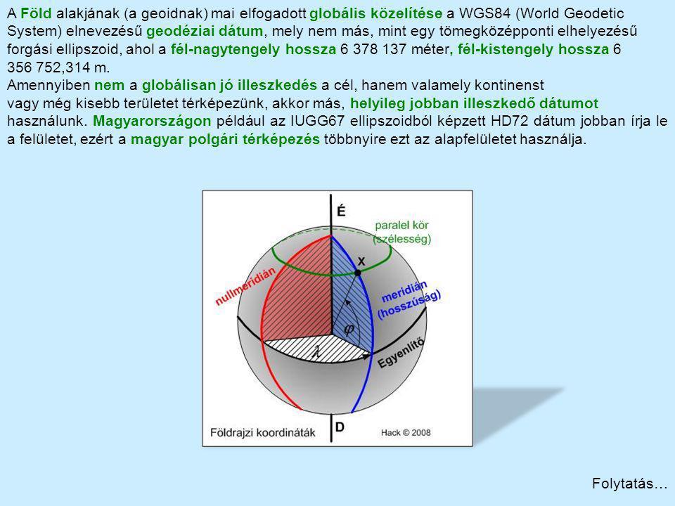 Folytatás… A Föld alakjának (a geoidnak) mai elfogadott globális közelítése a WGS84 (World Geodetic System) elnevezésű geodéziai dátum, mely nem más,