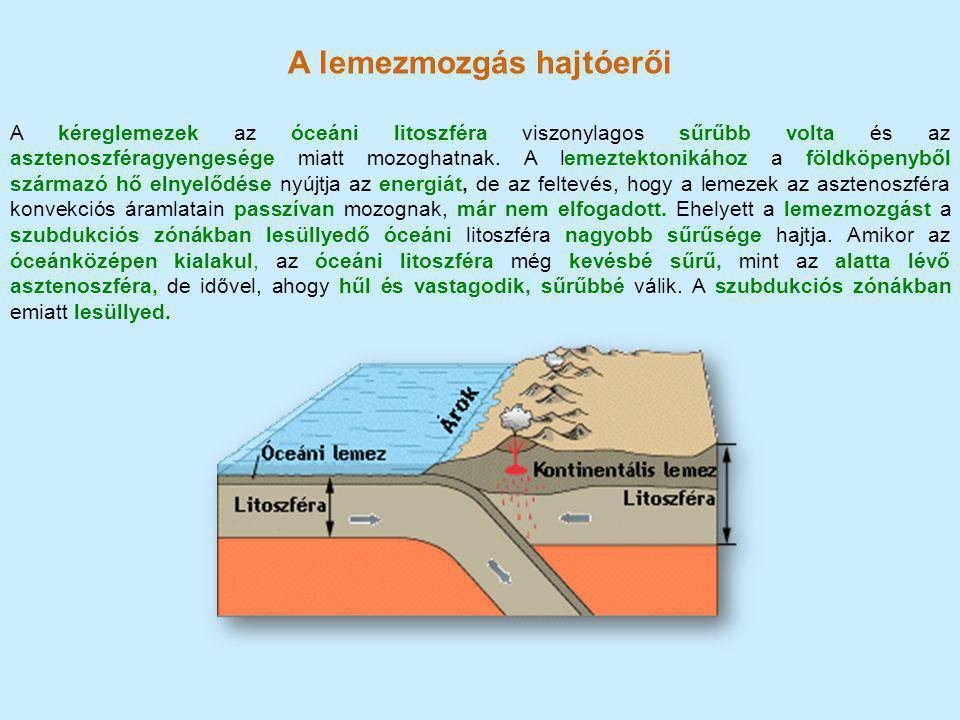 A lemezmozgás hajtóerői A kéreglemezek az óceáni litoszféra viszonylagos sűrűbb volta és az asztenoszféragyengesége miatt mozoghatnak. A lemeztektonik