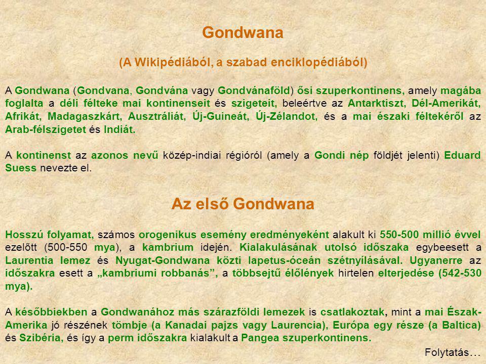 Gondwana (A Wikipédiából, a szabad enciklopédiából) A Gondwana (Gondvana, Gondvána vagy Gondvánaföld) ősi szuperkontinens, amely magába foglalta a dél