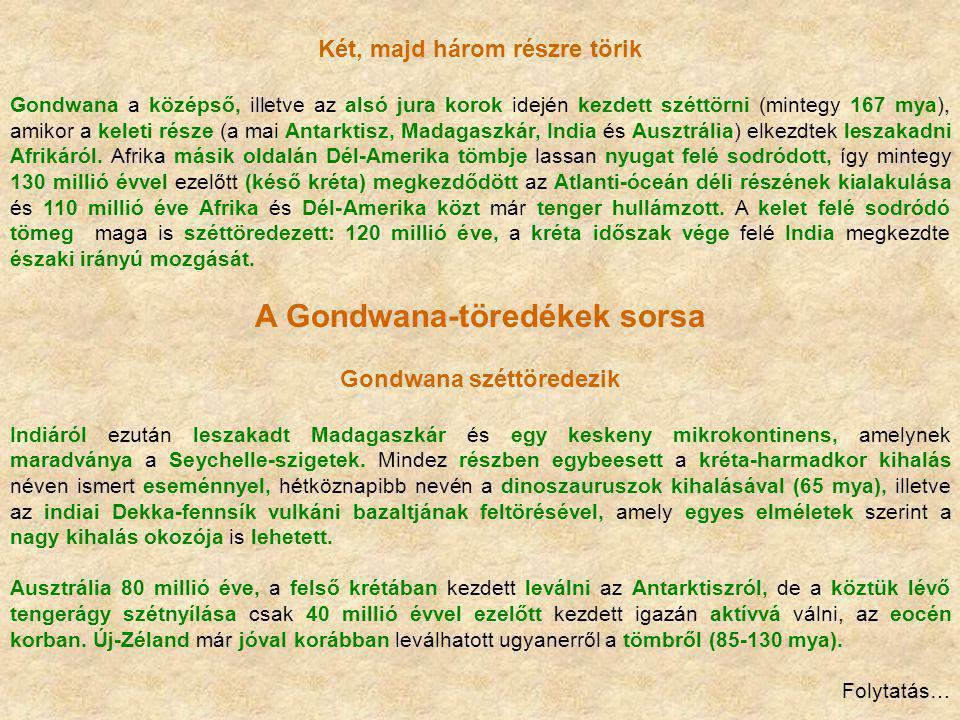 Két, majd három részre törik Gondwana a középső, illetve az alsó jura korok idején kezdett széttörni (mintegy 167 mya), amikor a keleti része (a mai A