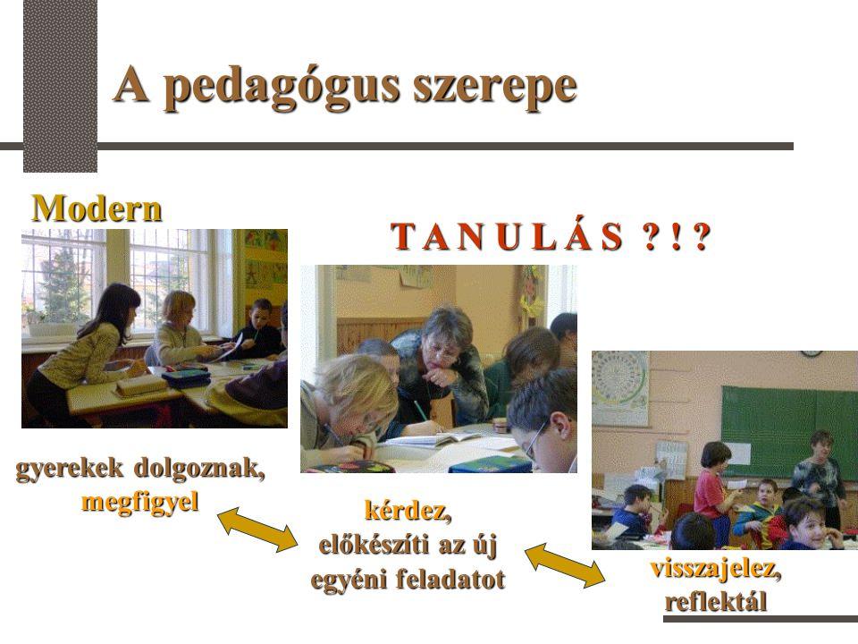 A pedagógus szerepe Modern gyerekek dolgoznak, megfigyel kérdez, előkészíti az új egyéni feladatot visszajelez, reflektál T A N U L Á S ? ! ?