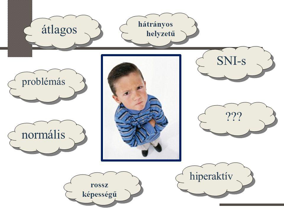 rossz képességű átlagos SNI-s hátrányos helyzetű problémás hiperaktív normális ???
