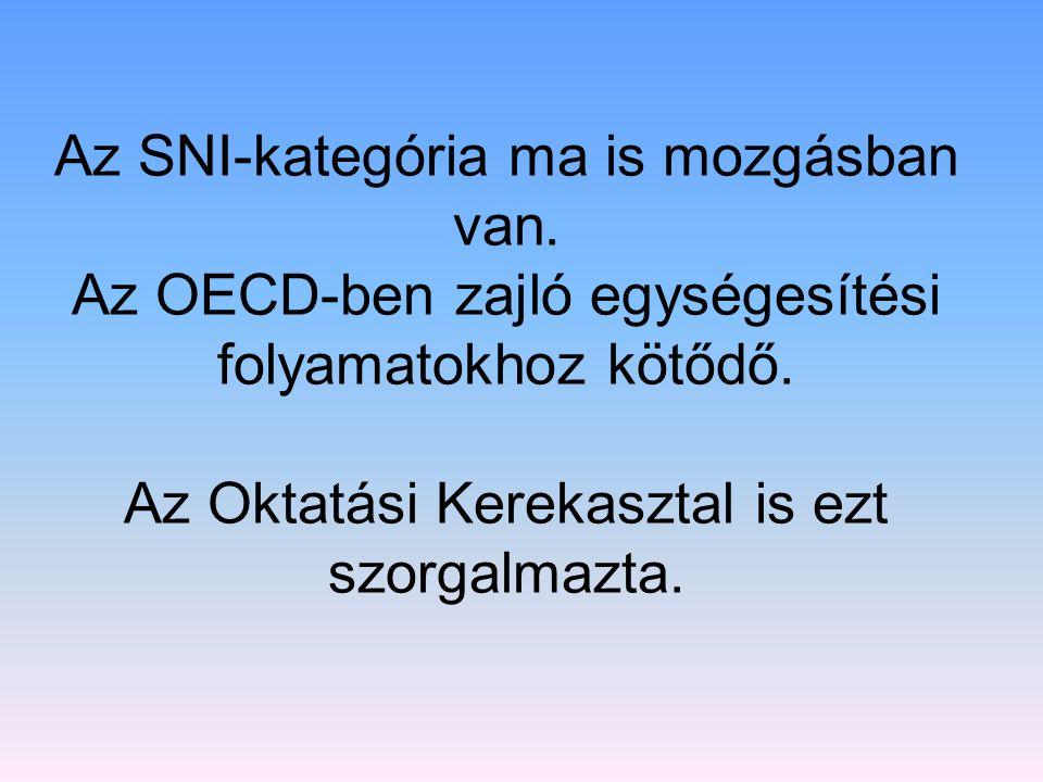 Az SNI-kategória ma is mozgásban van. Az OECD-ben zajló egységesítési folyamatokhoz kötődő. Az Oktatási Kerekasztal is ezt szorgalmazta.