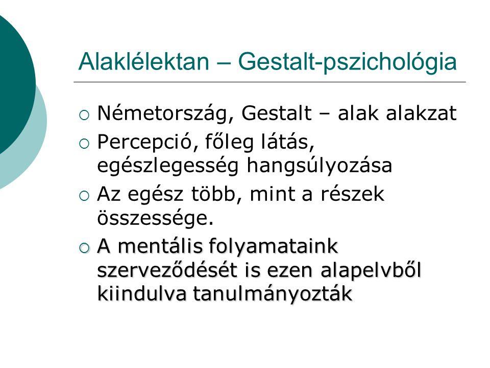 Alaklélektan – Gestalt-pszichológia  Németország, Gestalt – alak alakzat  Percepció, főleg látás, egészlegesség hangsúlyozása  Az egész több, mint