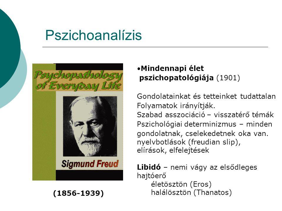 Pszichoanalízis •Mindennapi élet pszichopatológiája (1901) Gondolatainkat és tetteinket tudattalan Folyamatok irányítják. Szabad asszociáció – visszat