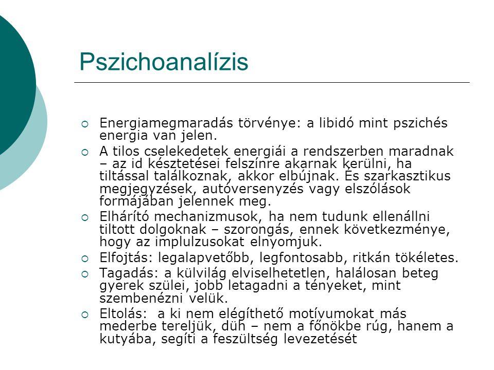 Pszichoanalízis  Energiamegmaradás törvénye: a libidó mint pszichés energia van jelen.  A tilos cselekedetek energiái a rendszerben maradnak – az id